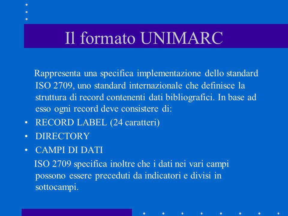 Il formato UNIMARC Rappresenta una specifica implementazione dello standard ISO 2709, uno standard internazionale che definisce la struttura di record
