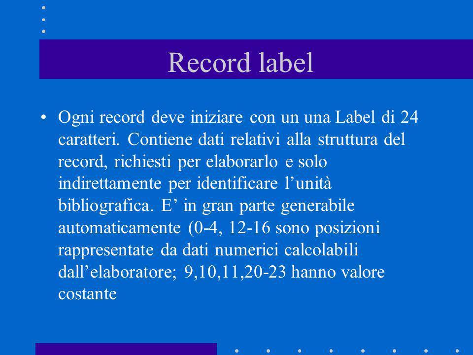 Record label Ogni record deve iniziare con un una Label di 24 caratteri. Contiene dati relativi alla struttura del record, richiesti per elaborarlo e