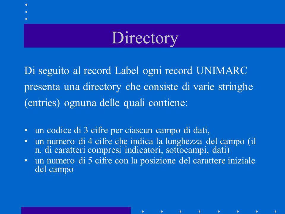 Directory Di seguito al record Label ogni record UNIMARC presenta una directory che consiste di varie stringhe (entries) ognuna delle quali contiene: