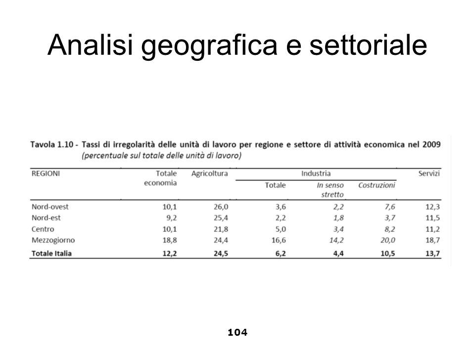 Analisi geografica e settoriale 104