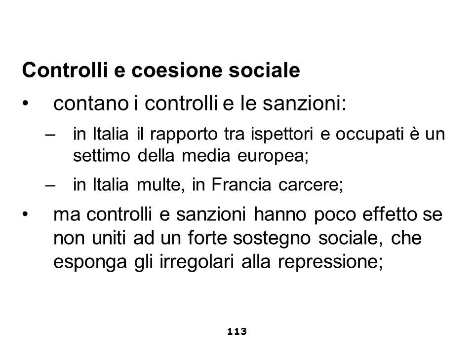 Controlli e coesione sociale contano i controlli e le sanzioni: –in Italia il rapporto tra ispettori e occupati è un settimo della media europea; –in