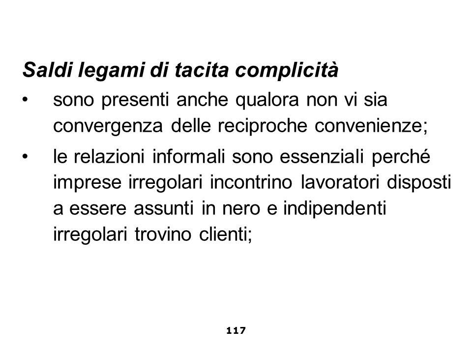 Saldi legami di tacita complicità sono presenti anche qualora non vi sia convergenza delle reciproche convenienze; le relazioni informali sono essenzi