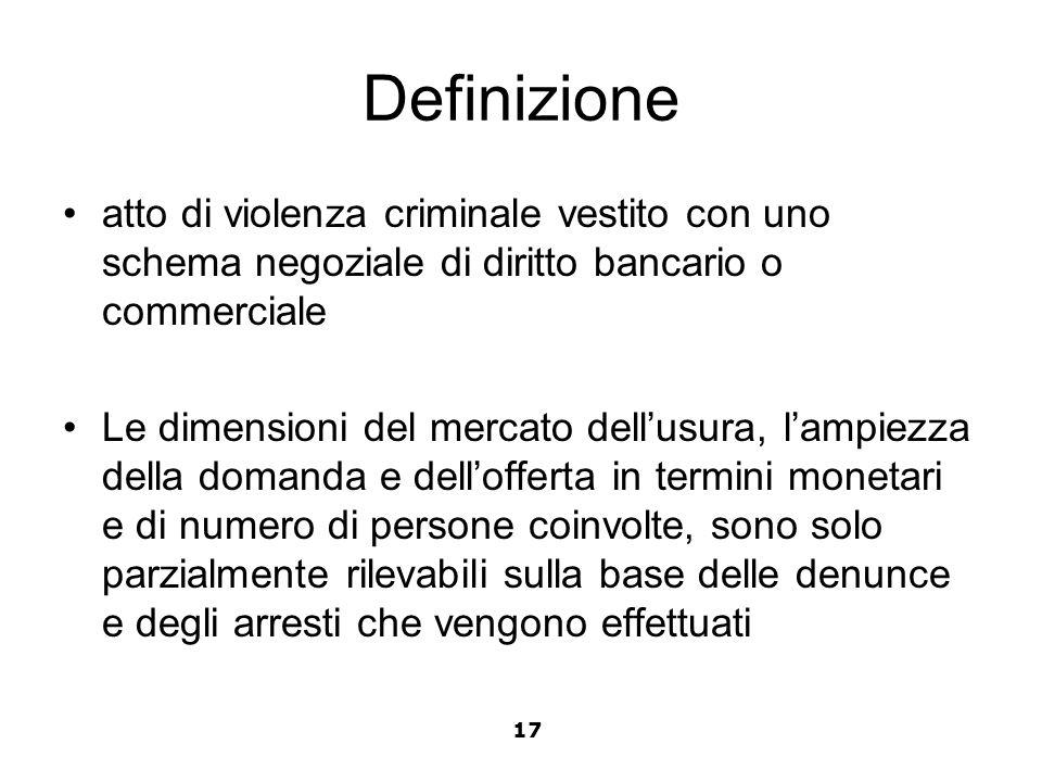 Definizione atto di violenza criminale vestito con uno schema negoziale di diritto bancario o commerciale Le dimensioni del mercato dellusura, lampiez