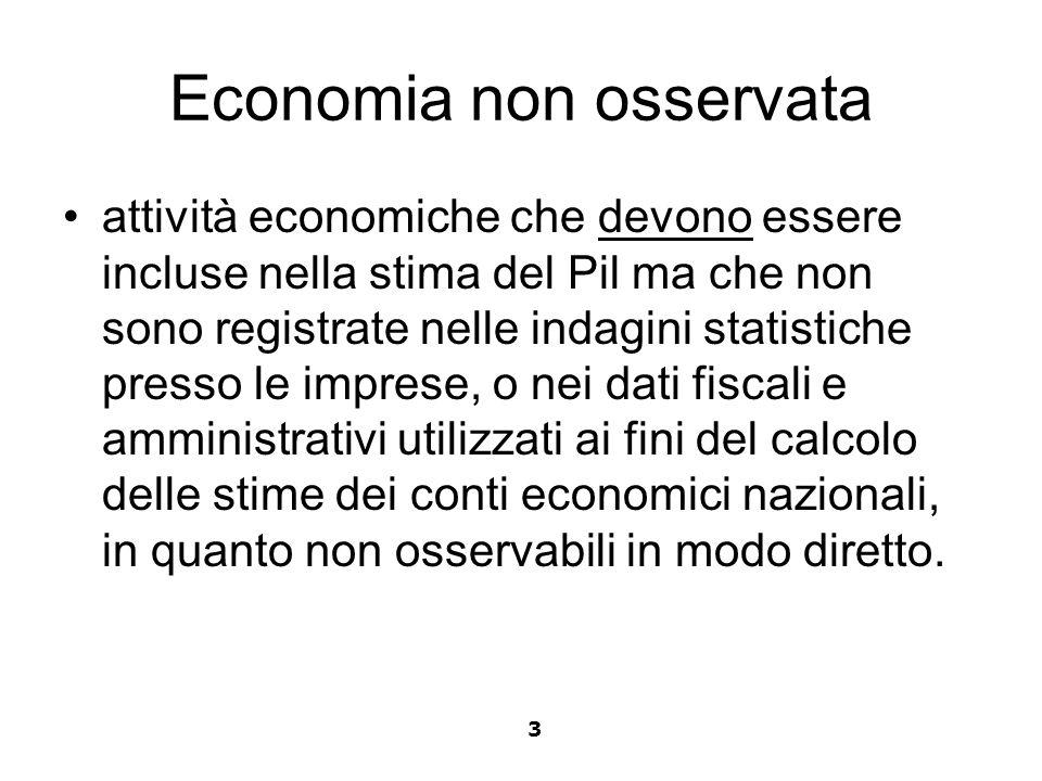 Economia non osservata attività economiche che devono essere incluse nella stima del Pil ma che non sono registrate nelle indagini statistiche presso