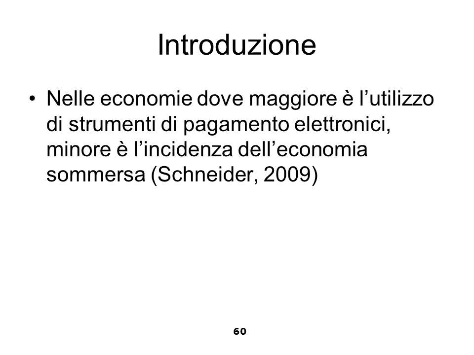 Introduzione Nelle economie dove maggiore è lutilizzo di strumenti di pagamento elettronici, minore è lincidenza delleconomia sommersa (Schneider, 200