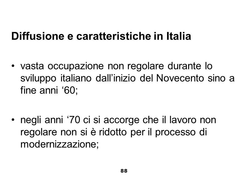 Diffusione e caratteristiche in Italia vasta occupazione non regolare durante lo sviluppo italiano dallinizio del Novecento sino a fine anni 60; negli