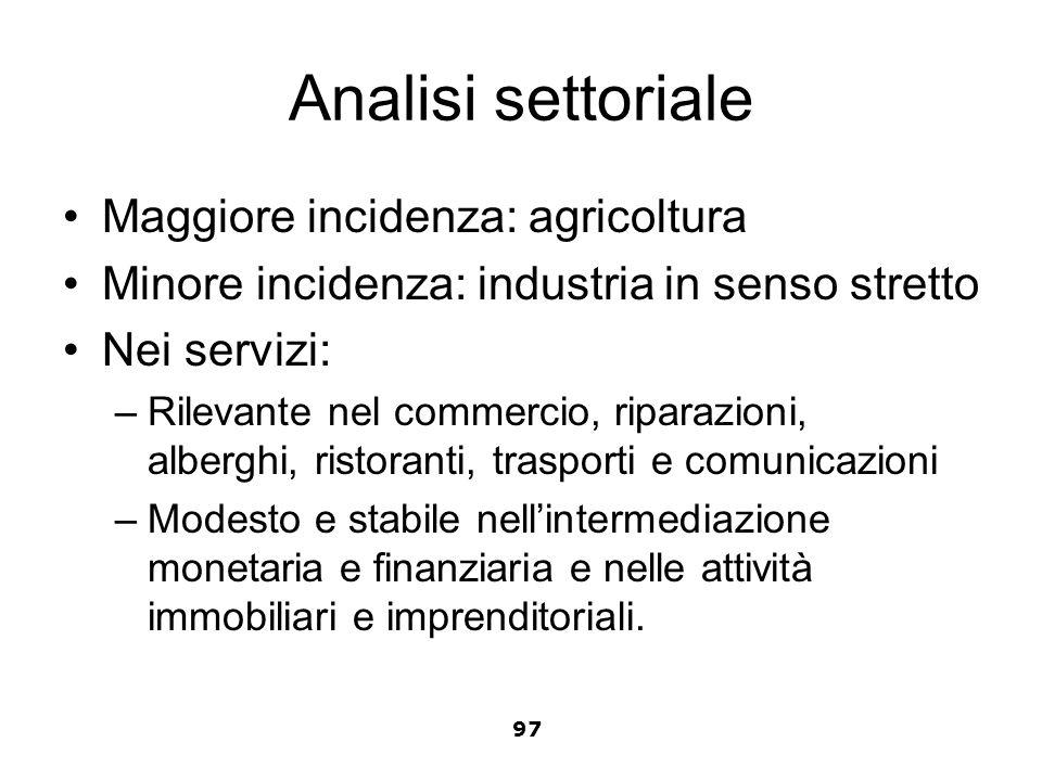 Analisi settoriale Maggiore incidenza: agricoltura Minore incidenza: industria in senso stretto Nei servizi: –Rilevante nel commercio, riparazioni, al
