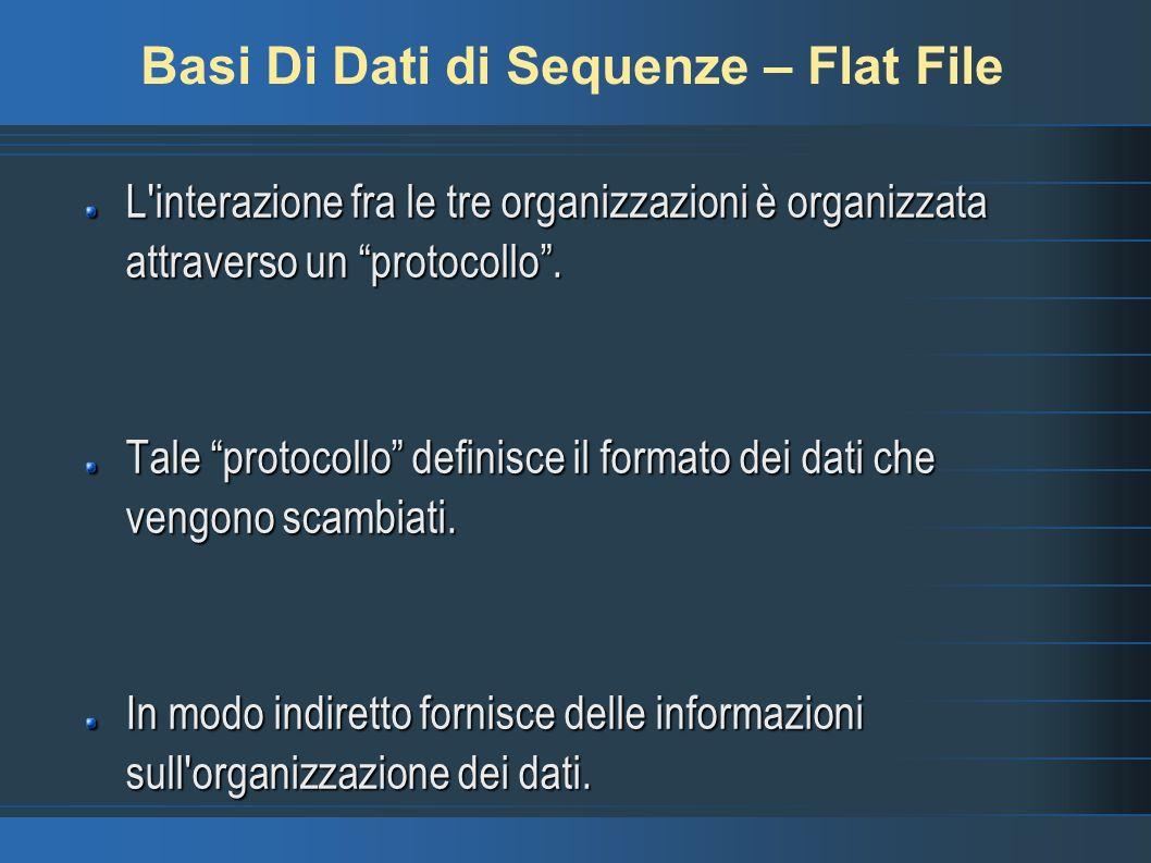 Basi Di Dati di Sequenze – Flat File L'interazione fra le tre organizzazioni è organizzata attraverso un protocollo. Tale protocollo definisce il form