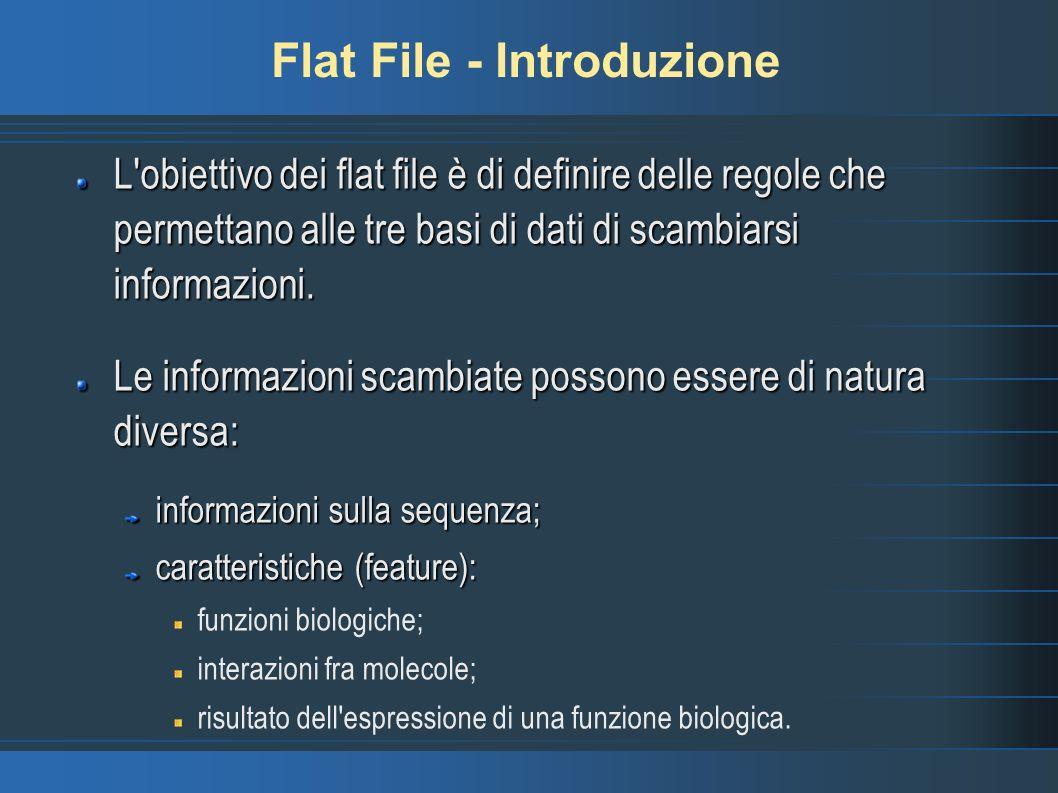 Flat File - Introduzione L obiettivo dei flat file è di definire delle regole che permettano alle tre basi di dati di scambiarsi informazioni.