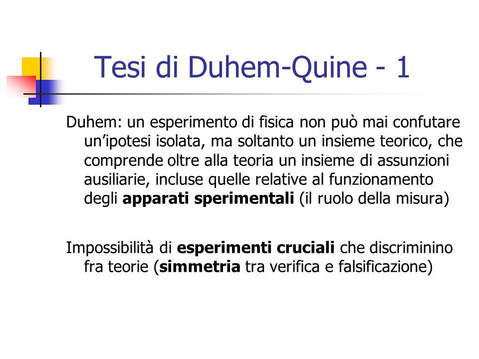 Tesi di Duhem-Quine - 1 Duhem: un esperimento di fisica non può mai confutare unipotesi isolata, ma soltanto un insieme teorico, che comprende oltre alla teoria un insieme di assunzioni ausiliarie, incluse quelle relative al funzionamento degli apparati sperimentali (il ruolo della misura) Impossibilità di esperimenti cruciali che discriminino fra teorie (simmetria tra verifica e falsificazione)
