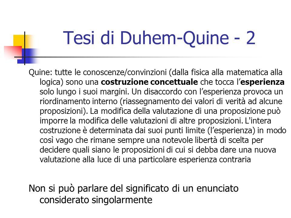 Tesi di Duhem-Quine - 2 Quine: tutte le conoscenze/convinzioni (dalla fisica alla matematica alla logica) sono una costruzione concettuale che tocca lesperienza solo lungo i suoi margini.