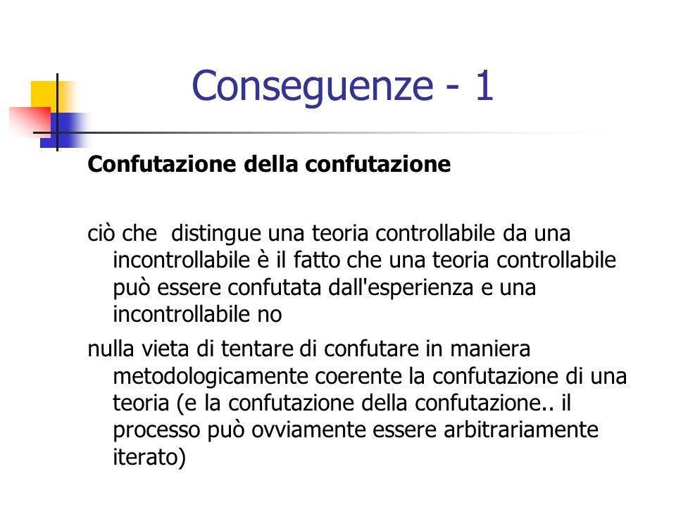 Conseguenze - 1 Confutazione della confutazione ciò che distingue una teoria controllabile da una incontrollabile è il fatto che una teoria controllabile può essere confutata dall esperienza e una incontrollabile no nulla vieta di tentare di confutare in maniera metodologicamente coerente la confutazione di una teoria (e la confutazione della confutazione..