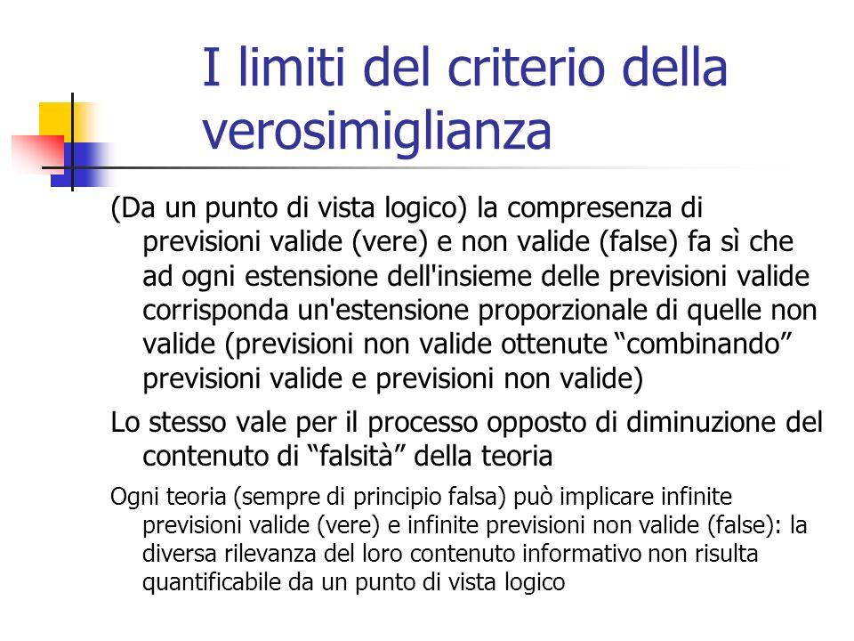 I limiti del criterio della verosimiglianza (Da un punto di vista logico) la compresenza di previsioni valide (vere) e non valide (false) fa sì che ad ogni estensione dell insieme delle previsioni valide corrisponda un estensione proporzionale di quelle non valide (previsioni non valide ottenute combinando previsioni valide e previsioni non valide) Lo stesso vale per il processo opposto di diminuzione del contenuto di falsità della teoria Ogni teoria (sempre di principio falsa) può implicare infinite previsioni valide (vere) e infinite previsioni non valide (false): la diversa rilevanza del loro contenuto informativo non risulta quantificabile da un punto di vista logico