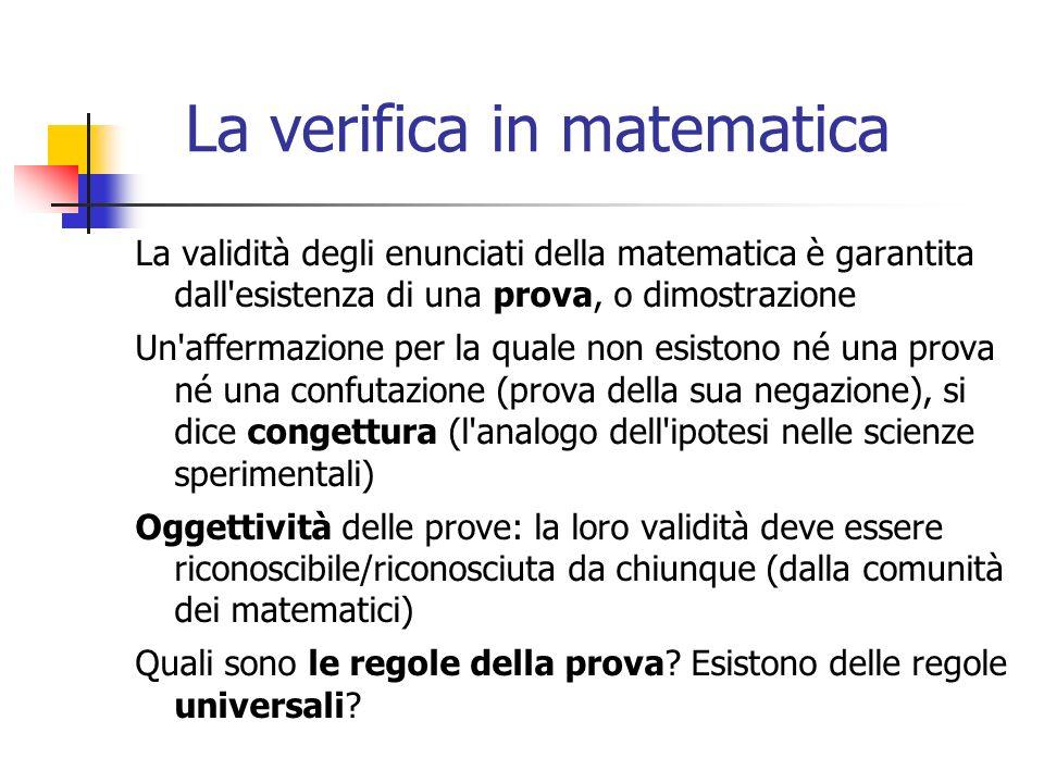 La verifica in matematica La validità degli enunciati della matematica è garantita dall esistenza di una prova, o dimostrazione Un affermazione per la quale non esistono né una prova né una confutazione (prova della sua negazione), si dice congettura (l analogo dell ipotesi nelle scienze sperimentali) Oggettività delle prove: la loro validità deve essere riconoscibile/riconosciuta da chiunque (dalla comunità dei matematici) Quali sono le regole della prova.