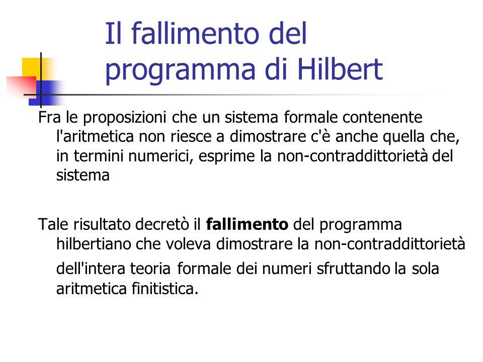 Il fallimento del programma di Hilbert Fra le proposizioni che un sistema formale contenente l aritmetica non riesce a dimostrare c è anche quella che, in termini numerici, esprime la non-contraddittorietà del sistema Tale risultato decretò il fallimento del programma hilbertiano che voleva dimostrare la non-contraddittorietà dell intera teoria formale dei numeri sfruttando la sola aritmetica finitistica.