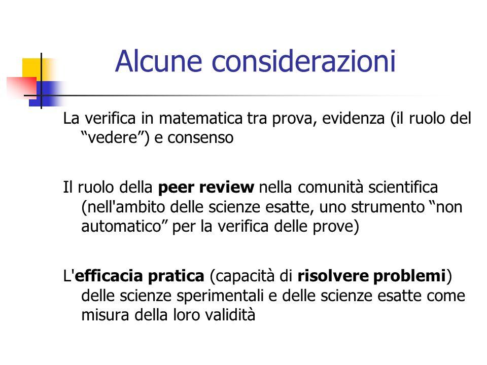 Alcune considerazioni La verifica in matematica tra prova, evidenza (il ruolo del vedere) e consenso Il ruolo della peer review nella comunità scientifica (nell ambito delle scienze esatte, uno strumento non automatico per la verifica delle prove) L efficacia pratica (capacità di risolvere problemi) delle scienze sperimentali e delle scienze esatte come misura della loro validità