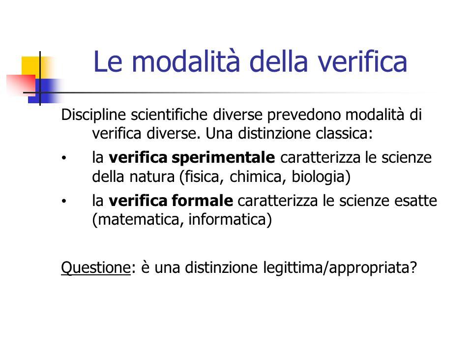 Le modalità della verifica Discipline scientifiche diverse prevedono modalità di verifica diverse.