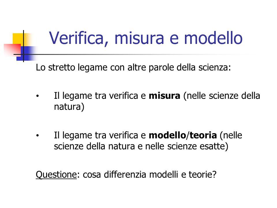 Verifica, misura e modello Lo stretto legame con altre parole della scienza: Il legame tra verifica e misura (nelle scienze della natura) Il legame tra verifica e modello/teoria (nelle scienze della natura e nelle scienze esatte) Questione: cosa differenzia modelli e teorie?