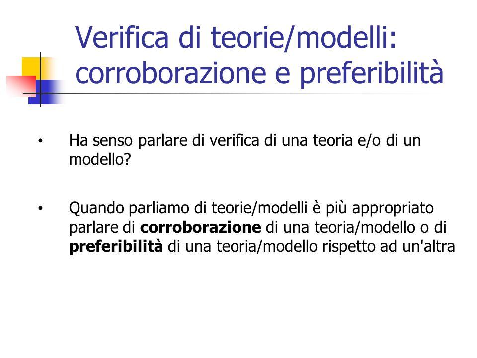 Verifica di teorie/modelli: corroborazione e preferibilità Ha senso parlare di verifica di una teoria e/o di un modello.