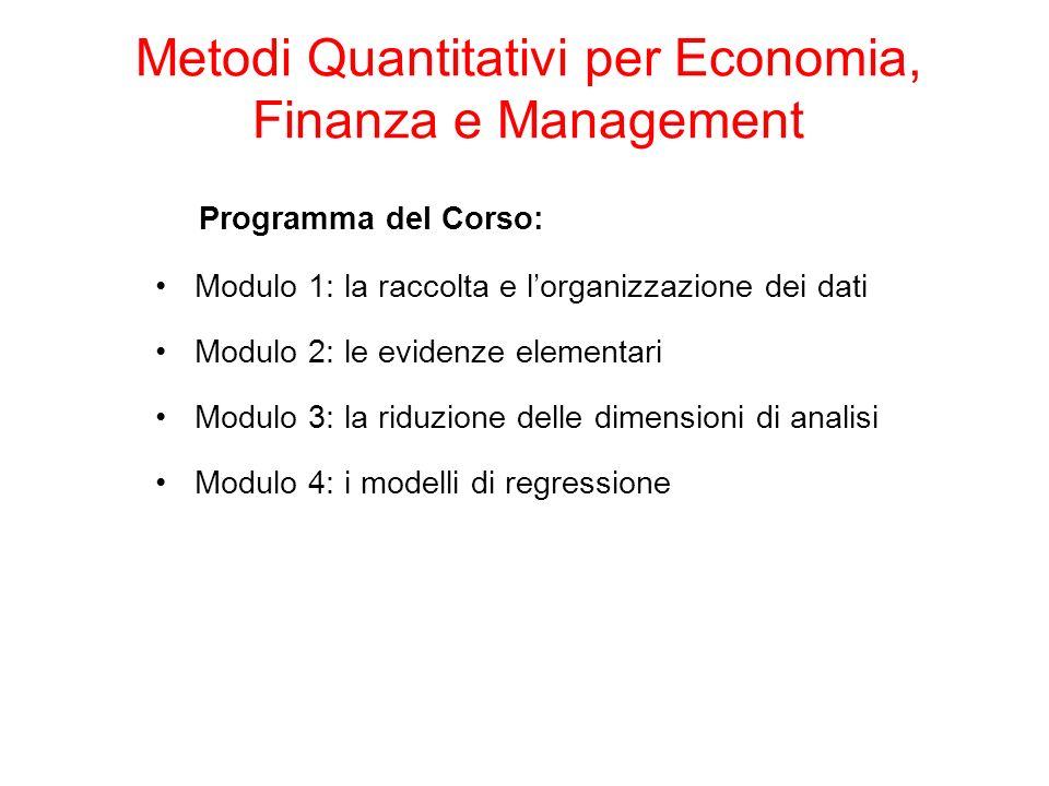 Programma del Corso: Modulo 1: la raccolta e lorganizzazione dei dati Modulo 2: le evidenze elementari Modulo 3: la riduzione delle dimensioni di analisi Modulo 4: i modelli di regressione Metodi Quantitativi per Economia, Finanza e Management