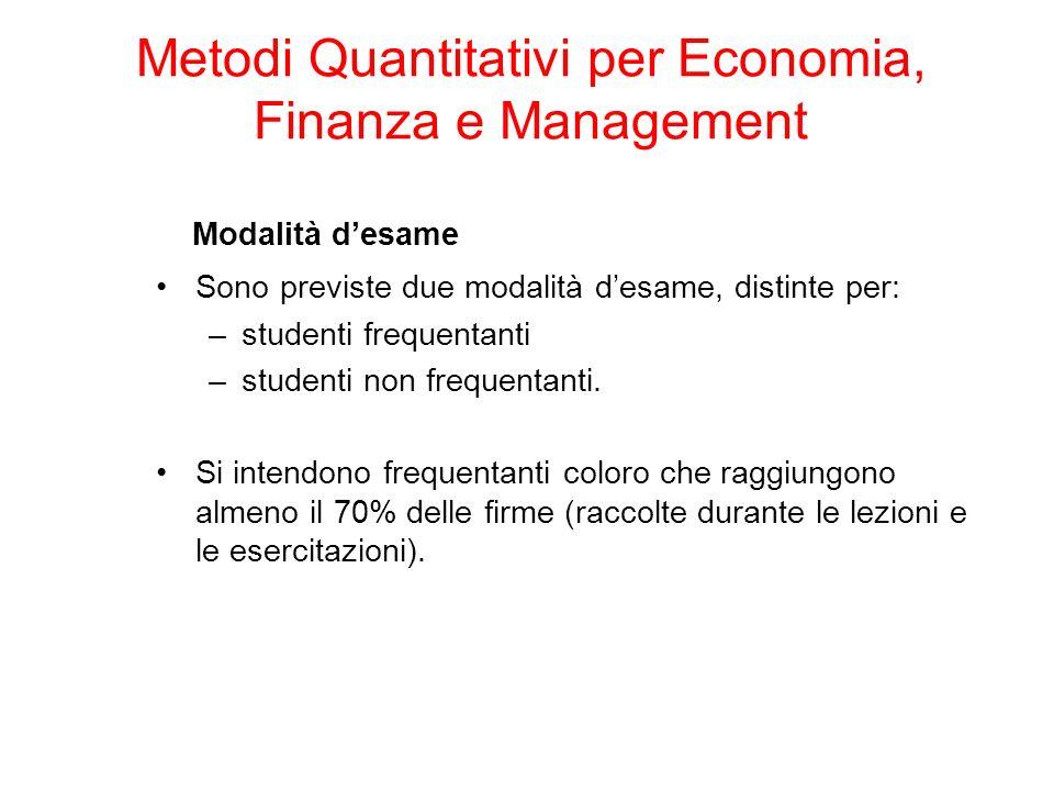 Modalità desame Sono previste due modalità desame, distinte per: –studenti frequentanti –studenti non frequentanti.