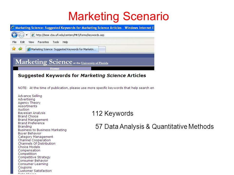 Marketing Scenario In 2010 the JMR published - 53 articles with keyword: - Marketing - 31 articles with keywords: - Quantitative Methods - Statistics - Data Analysis