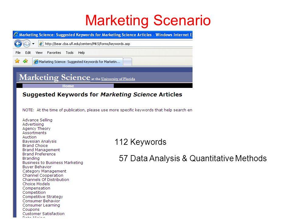 Marketing Scenario 112 Keywords 57 Data Analysis & Quantitative Methods