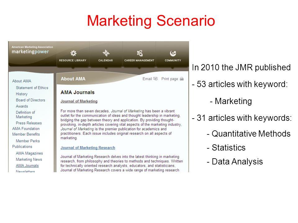 Marketing Scenario In 2010 the JMR published - 53 articles with keyword: - Marketing - 31 articles with keywords: - Quantitative Methods - Statistics
