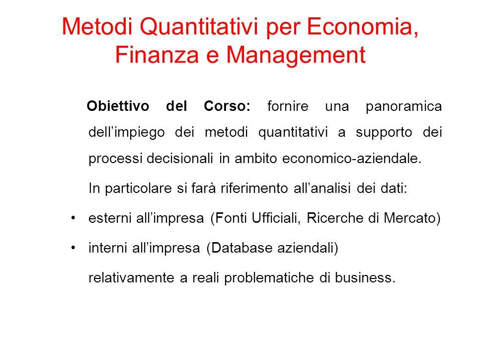 Metodi Quantitativi per Economia, Finanza e Management Obiettivo del Corso: fornire una panoramica dellimpiego dei metodi quantitativi a supporto dei processi decisionali in ambito economico-aziendale.