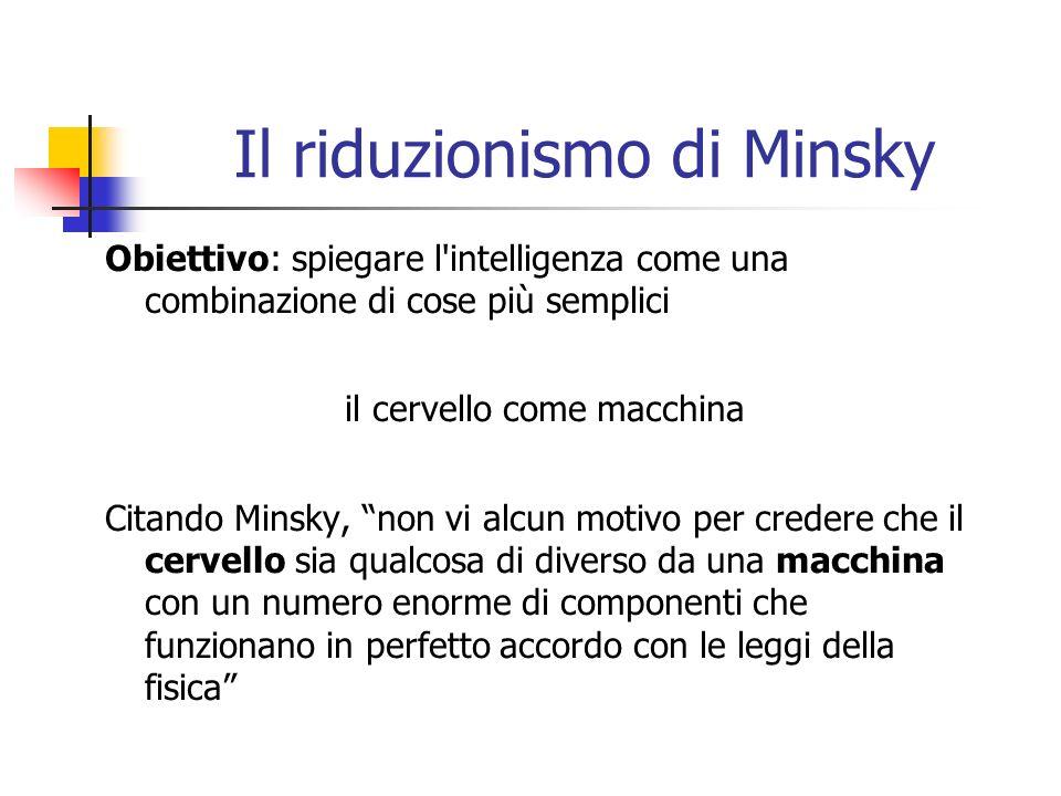 Il riduzionismo di Minsky Obiettivo: spiegare l intelligenza come una combinazione di cose più semplici il cervello come macchina Citando Minsky, non vi alcun motivo per credere che il cervello sia qualcosa di diverso da una macchina con un numero enorme di componenti che funzionano in perfetto accordo con le leggi della fisica