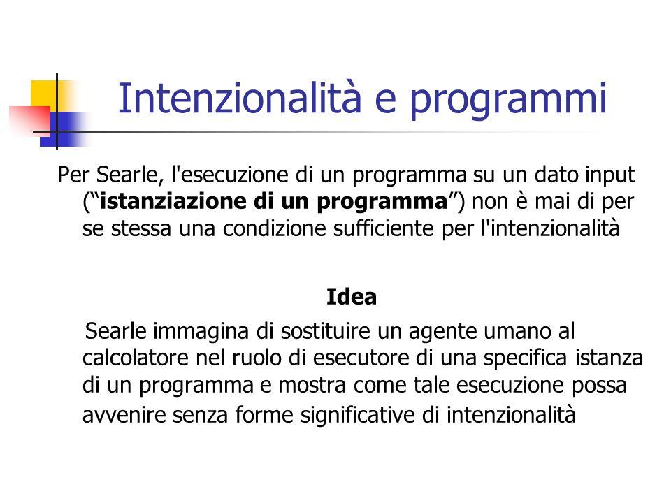 Intenzionalità e programmi Per Searle, l'esecuzione di un programma su un dato input (istanziazione di un programma) non è mai di per se stessa una co