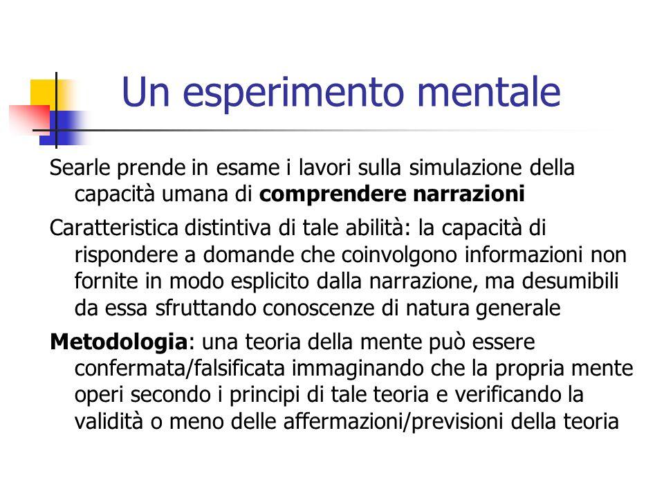 Un esperimento mentale Searle prende in esame i lavori sulla simulazione della capacità umana di comprendere narrazioni Caratteristica distintiva di t