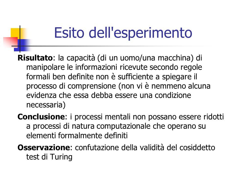 Esito dell esperimento Risultato: la capacità (di un uomo/una macchina) di manipolare le informazioni ricevute secondo regole formali ben definite non è sufficiente a spiegare il processo di comprensione (non vi è nemmeno alcuna evidenza che essa debba essere una condizione necessaria) Conclusione: i processi mentali non possano essere ridotti a processi di natura computazionale che operano su elementi formalmente definiti Osservazione: confutazione della validità del cosiddetto test di Turing