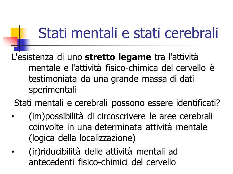 Stati mentali e stati cerebrali L esistenza di uno stretto legame tra l attività mentale e l attività fisico-chimica del cervello è testimoniata da una grande massa di dati sperimentali Stati mentali e cerebrali possono essere identificati.