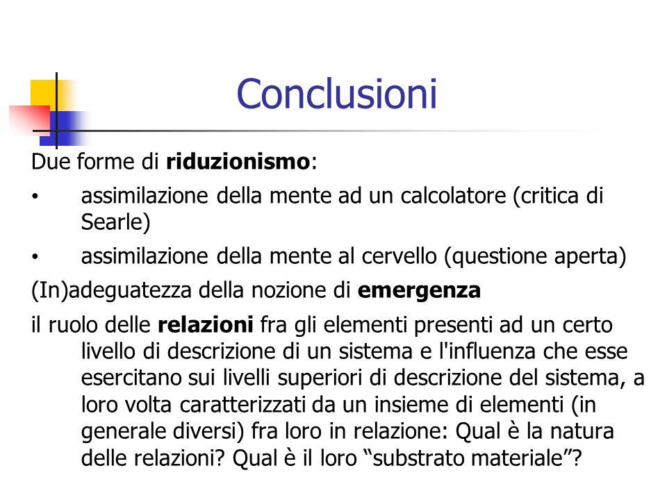 Conclusioni Due forme di riduzionismo: assimilazione della mente ad un calcolatore (critica di Searle) assimilazione della mente al cervello (question