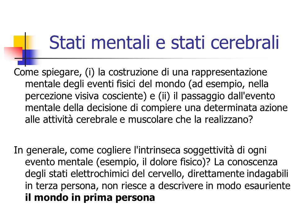 Stati mentali e stati cerebrali Come spiegare, (i) la costruzione di una rappresentazione mentale degli eventi fisici del mondo (ad esempio, nella per