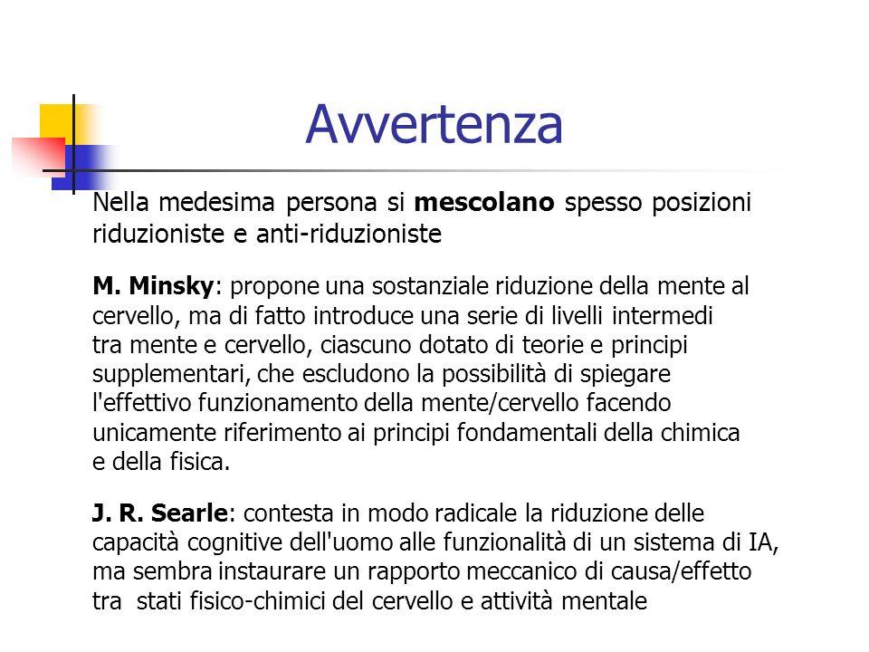 Avvertenza Nella medesima persona si mescolano spesso posizioni riduzioniste e anti-riduzioniste M.