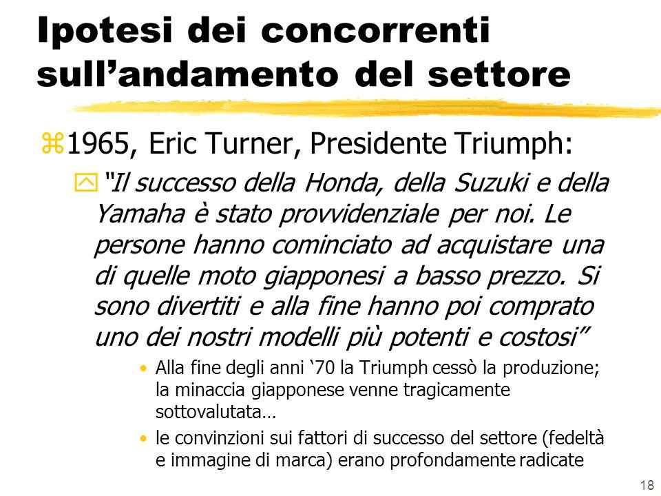 18 Ipotesi dei concorrenti sullandamento del settore z1965, Eric Turner, Presidente Triumph: yIl successo della Honda, della Suzuki e della Yamaha è stato provvidenziale per noi.