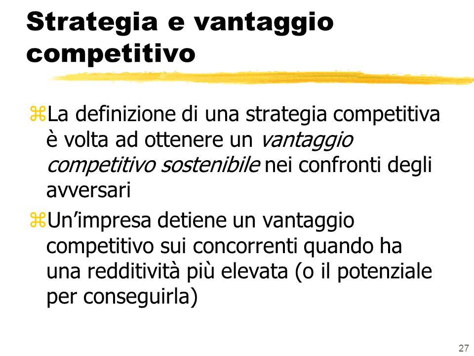 27 Strategia e vantaggio competitivo zLa definizione di una strategia competitiva è volta ad ottenere un vantaggio competitivo sostenibile nei confronti degli avversari zUnimpresa detiene un vantaggio competitivo sui concorrenti quando ha una redditività più elevata (o il potenziale per conseguirla)