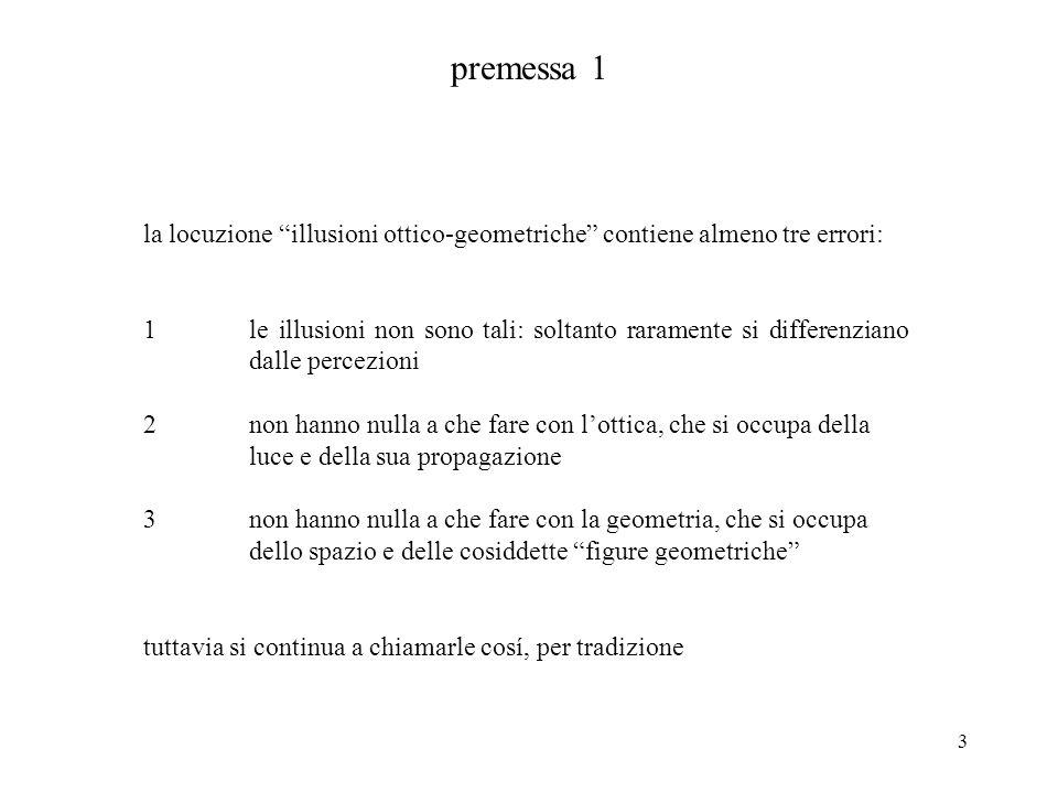 3 premessa 1 la locuzione illusioni ottico-geometriche contiene almeno tre errori: 1le illusioni non sono tali: soltanto raramente si differenziano da