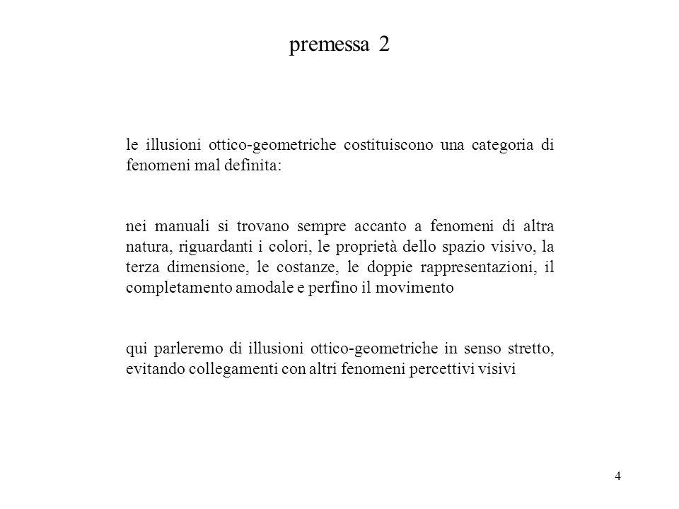 4 premessa 2 le illusioni ottico-geometriche costituiscono una categoria di fenomeni mal definita: nei manuali si trovano sempre accanto a fenomeni di