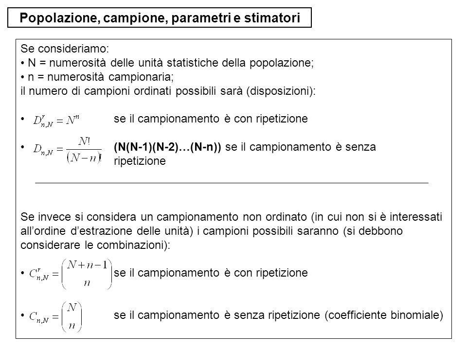 Popolazione, campione, parametri e stimatori Se consideriamo: N = numerosità delle unità statistiche della popolazione; n = numerosità campionaria; il