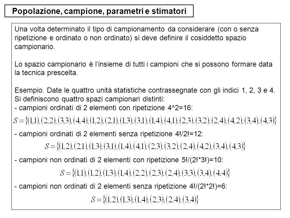 Popolazione, campione, parametri e stimatori Una volta determinato il tipo di campionamento da considerare (con o senza ripetizione e ordinato o non o
