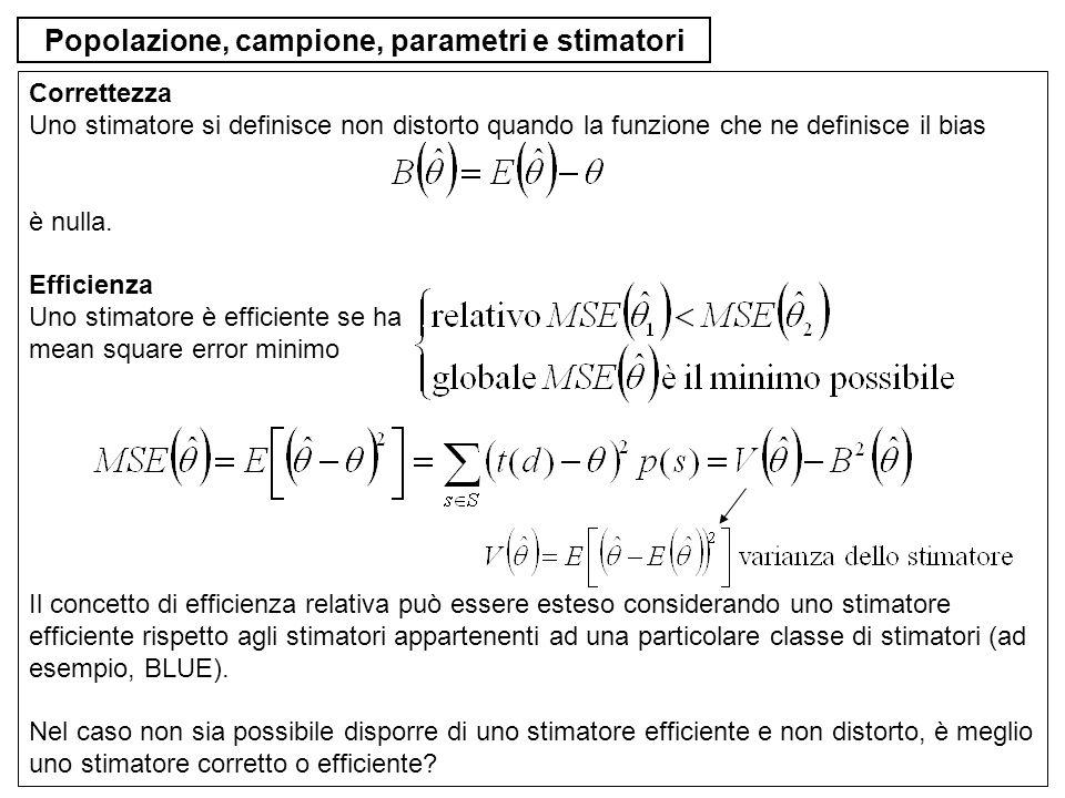 Popolazione, campione, parametri e stimatori Correttezza Uno stimatore si definisce non distorto quando la funzione che ne definisce il bias è nulla.
