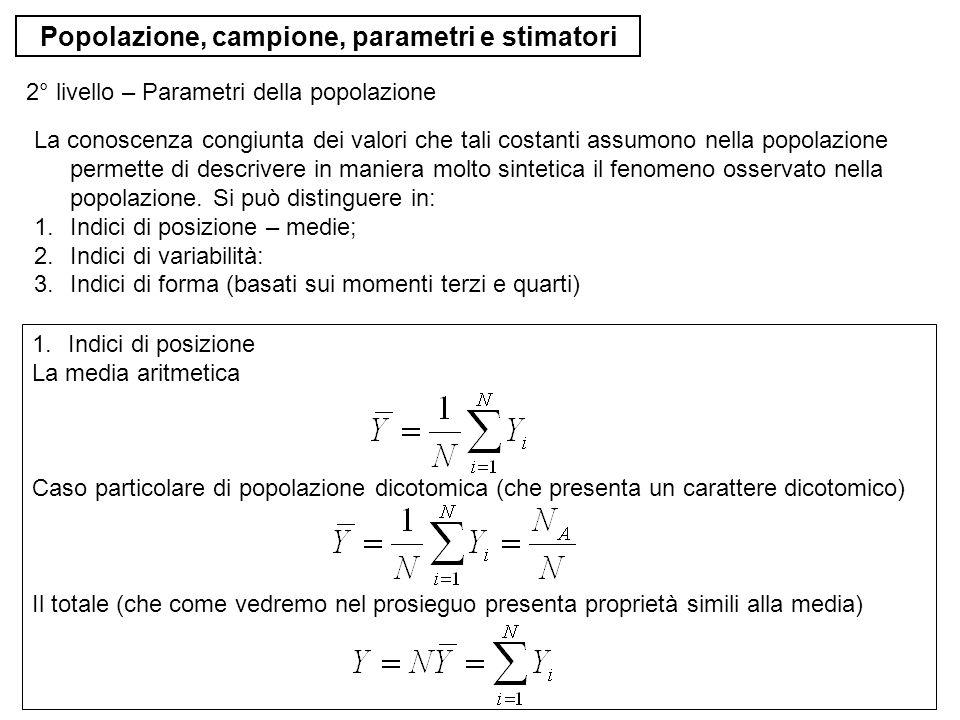 Popolazione, campione, parametri e stimatori Ad esempio, si consideri la popolazione di quattro unità, P = {1, 2, 3, 4} s{1,2} {1,3} {1,4} {2,3} {2,4} {3,4} p(s)0.150.100.200.150.200.20 Un piano di campionamento è detto autoponderante se tutte le unità hanno la stessa probabilità di inclusione di primo ordine.