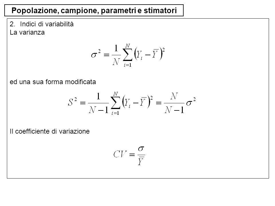 Popolazione, campione, parametri e stimatori 3.Indici di forma Asimmetria positiva >0, negativa <0 e simmetria =0 Disnormalità (curtosi) ipernormalità >3, ipornormalità <3 e normalità =3 (leptocurtosi)(platicurtica)(normocurtica) La definizione degli indici di forma sono necessarie le definizioni di momenti non centrali di ordine r centrali di ordine r