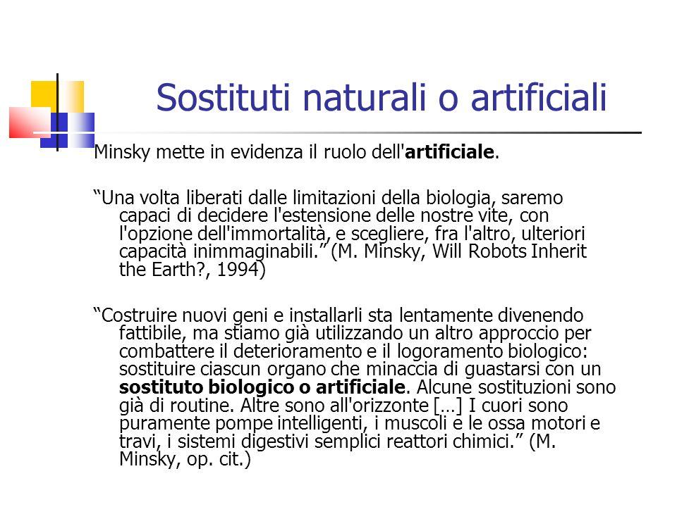 Sostituti naturali o artificiali Minsky mette in evidenza il ruolo dell'artificiale. Una volta liberati dalle limitazioni della biologia, saremo capac