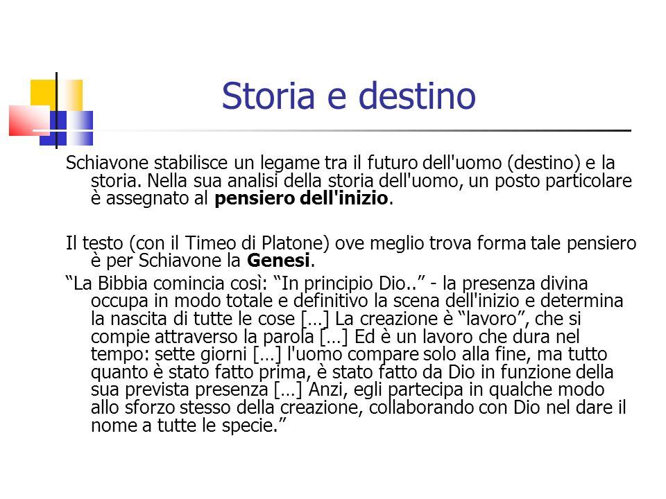 Storia e destino Schiavone stabilisce un legame tra il futuro dell'uomo (destino) e la storia. Nella sua analisi della storia dell'uomo, un posto part