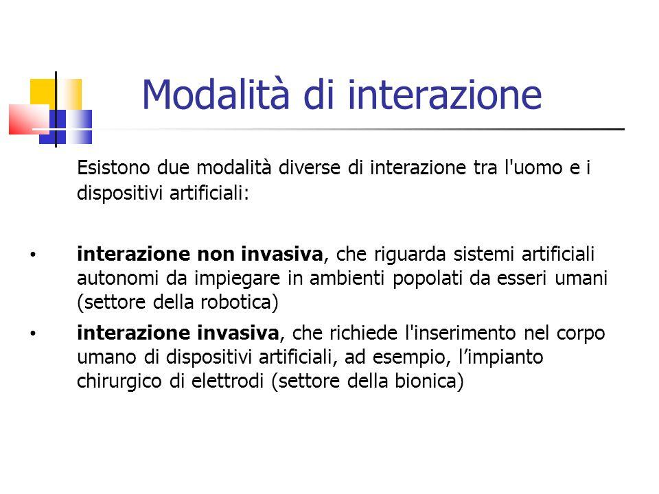 Modalità di interazione Esistono due modalità diverse di interazione tra l'uomo e i dispositivi artificiali: interazione non invasiva, che riguarda si