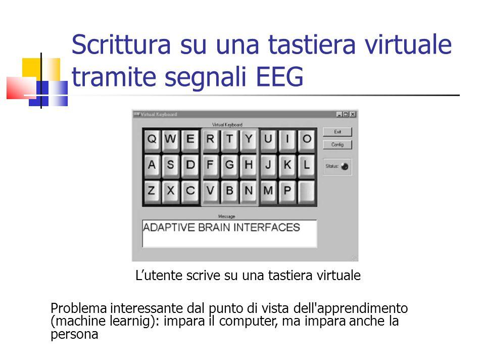 Scrittura su una tastiera virtuale tramite segnali EEG Lutente scrive su una tastiera virtuale Problema interessante dal punto di vista dell apprendimento (machine learnig): impara il computer, ma impara anche la persona